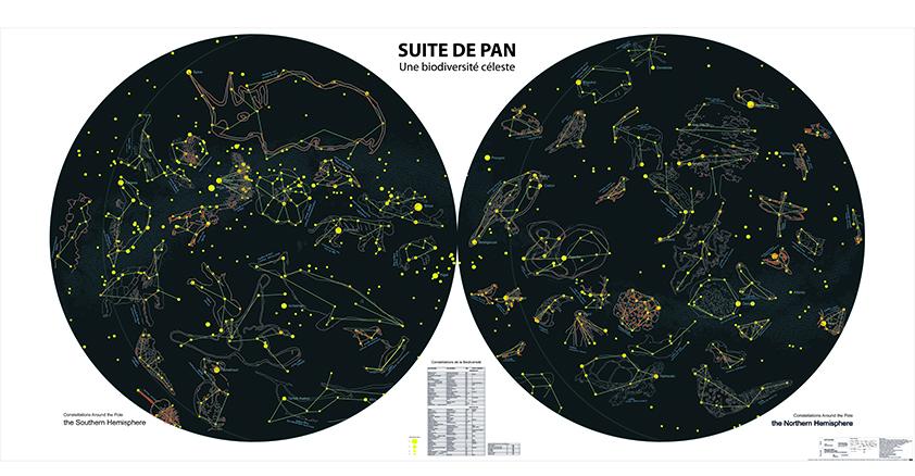 Carte du ciel et sa biodiversité, réalisée avec les enfants de Fleurance et Thierry Boutonnier  Sculpture-observatoire en bois et en hauteur dans un chêne  16m2, rampe de 30m, 6m de haut. Globe céleste en résine peint à la main, en rotation sur un axe (150cm de diamètre). 2015-18, Chemin de la biodiversité, Ville de Fleurance, DRAC Occitanie