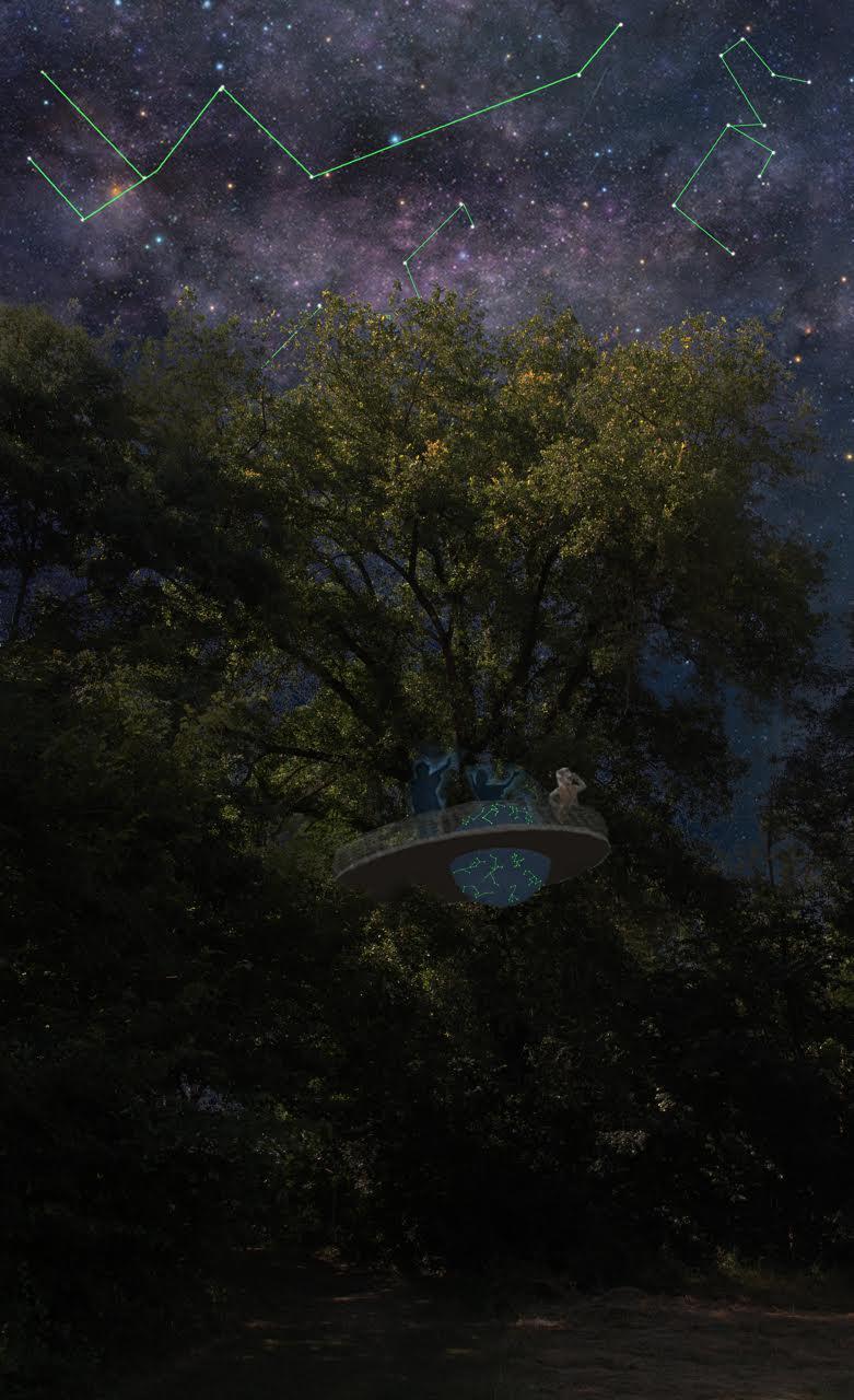Collage Thierry Boutonnier  Sculpture Observatoire en bois et en hauteur dans un chêne  16m2, rampe de 30m, 6m de haut. Globe céleste en résine peint à la main, en rotation sur un axe (150cm de diamètre). 2015-18, Chemin de la biodiversité, Ville de Fleurance, DRAC Occitanie