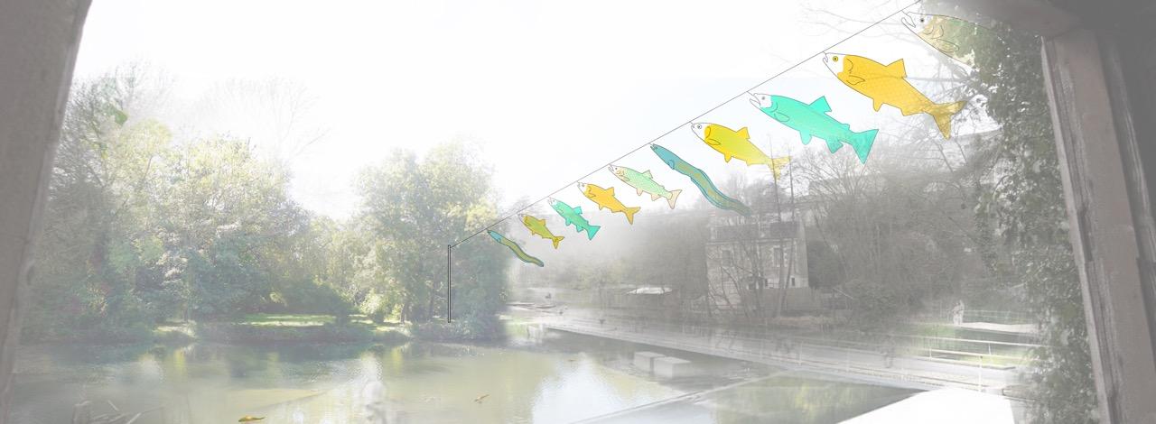 Collage de Thierry Boutonnier  Œuvre pérenne créée pour le parc de Tison et la réappropriation des berges du Clain. En dialogue avec les poissons migrateurs. (Tissus technique imprimé, verres souflées, câbles). 2015-2018, Poitiers