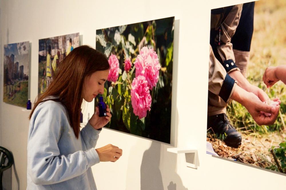 Installation de la série photographique et de la série Eau de rose. Biennale d'art Contemporain. Photo : Thierry Boutonnier 2017