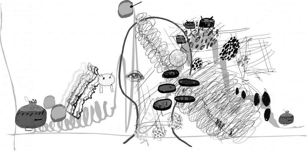 Étude pour un composition, Dessin collectif pour la composition musicale Les percussions de Treffort, Alain Goudar & Thierry Boutonnier 2019